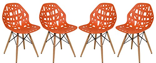 LeisureMod Calvert Modern Eiffel Base Side Dining Chair with Wood Dowel Legs Set of 4 (Orange)