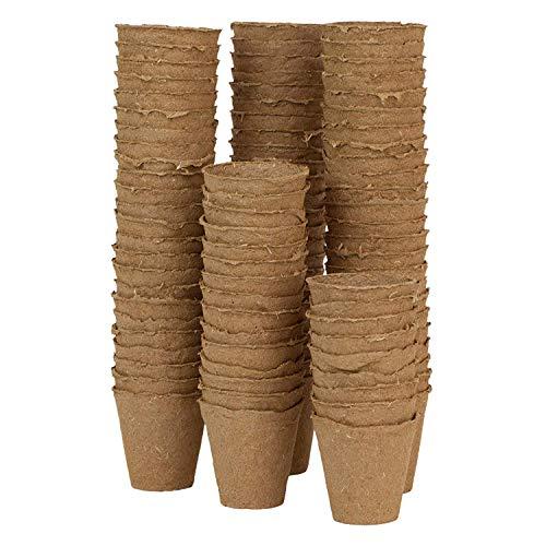 WARKHOME 96 Pezzi 6 cm Vasetti in Fibra Biodegradabili per Semi,Vasetti di Torba Plant Starters Protezione Ambientale biodegradabili Vasi