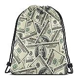 XCNGG Mochila con cordón de dólar estadounidense Bill Money String Mochila Terileno para hombres y mujeres