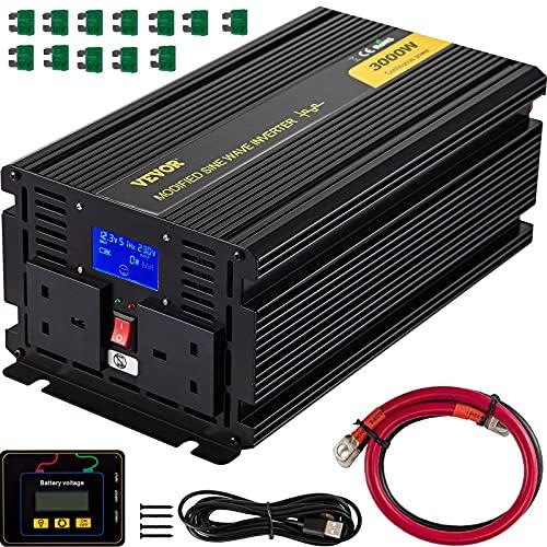 VEVOR Spannungswandler, 12 V DC 240 V AC Sinus-Wechselrichter, 3000 W, Modifizierte Sinuswelle, 358 x 167 x 120 mm, Stromumwandler, LCD-Bildschirm, 0,3 A, LED-Anzeigen, UK-Steckdose, 2 Batteriekabel