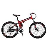 Eurobike Mountain Bike G6 26' 21 Speed Folding Bike (Red)
