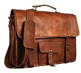 Leder-Herrentasche von Honey Leather Exportes - Die braune Vintage-Tasche aus Echtleder hat einen langen Schulterriemen - perfekt für Laptop & Unterlagen
