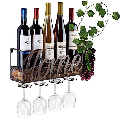 Estantería de Vino de Pared de Metal para Organizador 4 Copas Vino Almacenaje, Estante Flotante Decoracion para Cocina de Armarios Vino, Botelleros Vino Accesorio para Sala de Estar