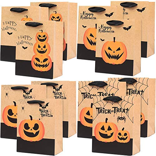 UNIQOOO 12Pcs Halloween Trick or Treat Gift Bags Bulk, Kids Candy Cookie Goodie Bag, Durable Recyclable Kraft Paper, Medium 9x7x4 Inch, Assorted Jack O' Lantern Pumpkins Spiders Bats Party Favor Decor