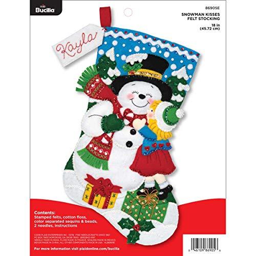 Bucilla Felt Appliques Christmas Stocking Kit, 18', Snowman Kisses