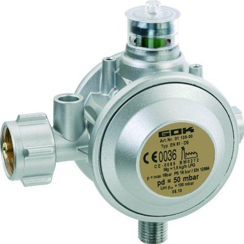 GOK Gewerberegler für 3, 5 und 11 kg Propanflaschen - 90° Abgang, Betriebsdruck:50 mbar