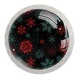 Juego de 4 tiradores y pomos de cristal redondos para armario de tocador, diseño de copo de nieve, 4 unidades
