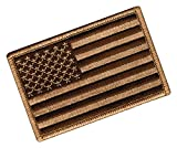 American Flag Embroidered Tactical Patch Tan Brown w/ Velcro Brand Fastener