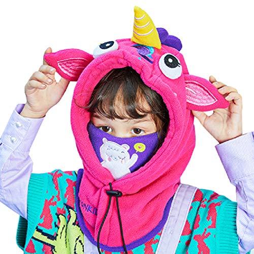 TRIWONDER Pasamontañas Niños Cálido Grueso Sombrero de Invierno A Prueba de Viento Cubierta de Capucha Calentador de Cuello para Esquí Nieve Ciclismo (Rosa Roja - Unicornio)