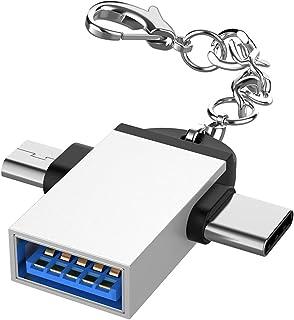 SJZERO Adaptateur Universel 2 en 1 OTG avec lanière en Alliage d'aluminium de Type C Femelle vers Micro USB C convertisseur