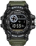 Men Military Sport Watch Fashion Multifunction Digital Watches Alarm Stopwatch Waterproof LED Wristwatch (Army Green)