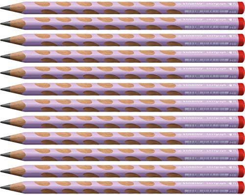 Ergonomischer Dreikant-Bleistift für Rechtshänder - STABILO EASYgraph in pastelllila - 12er Pack - Härtegrad HB