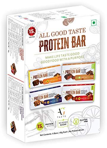 AG Taste Gluten Free Protein Bars – Variety Pack of 6 Bars (4 Exotic flavors) .Best for all age groups of people. All Natural, No Preservatives. Healthy Snack & Breakfast bars. Pre-post Workout bar