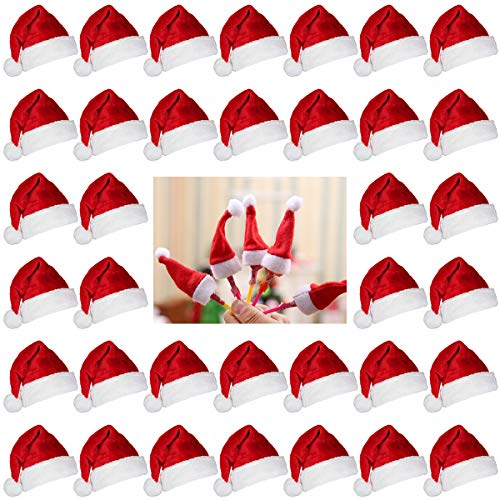 Biubee 36 Pcs 1'' Christmas Mini Red Santa Hats- Lollipop Bottle Candy Cover Cap Santa Claus Hats for Christmas Party Decor Doll Handy Craft