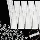 WILLBOND 10 Metros 1 Pulgada Cinta de Cabecera de Cortina Cinta Plisada con 100 Ganchos de Cortina 2,8 por 1,2 cm para Cortinas de Ventana Puerta y Ducha, Blanco