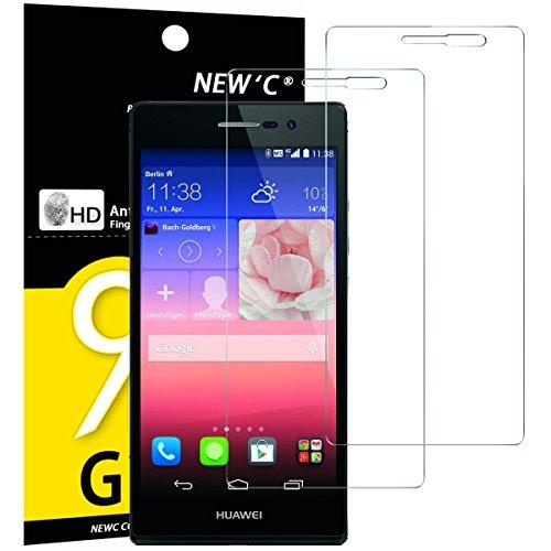NEW'C 2 Stück, Schutzfolie Panzerglas für Huawei Ascend P7, Frei von Kratzern, 9H Festigkeit, HD Bildschirmschutzfolie, 0.33mm Ultra-klar, Ultrawiderstandsfähig
