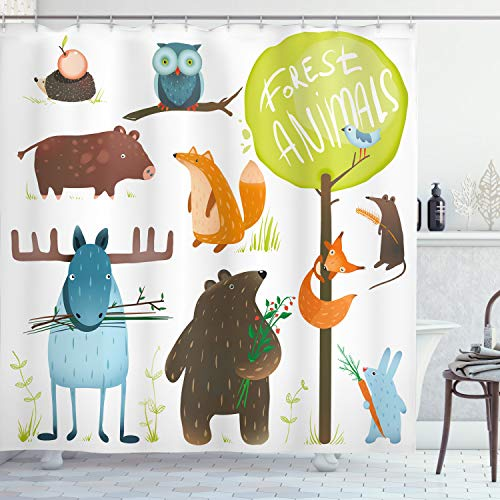 """Ambesonne Forest Shower Curtain, Cartoon Style Animals Like Bear and Deer Fox Owl Pig Mouse Squirrel and Rabbit Print of an Artwork, Cloth Fabric Bathroom Decor Set with Hooks, 70"""" Long, Yellow Green"""