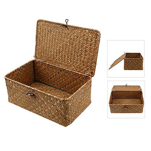 ayaowangluok Natural Seagrass Storage Box,Multifunctional Handmade Desktop Storage Basket with Lid and Button for Storing Small Household Items(10 * 10 * 8CM Orange)