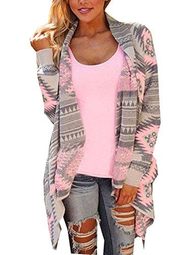 Damen Strickjacke Cardigan Langarmshirt Geometrische Irregular Lose Pullover Mantel Outwear Tops Strickmantel Strick Loose Strickjacke Kimono (M, Rosa )