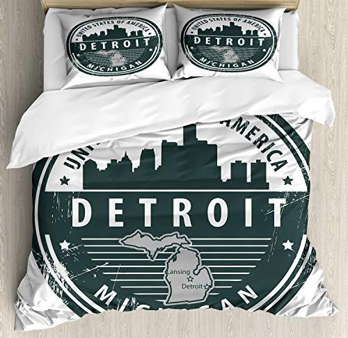 ABAKUHAUS Detroit Bettbezugs Set Für Doppelbetten, Michigan Old Stamp, Milbensicher Allergiker geeignet mit Kissenbezügen, 200 x 200 cm, Schwarz Weiß Grau