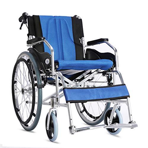 DIMOCHEN Portátil Silla de Ruedas autopropulsable, Marco de Aluminio Ligero y Plegable, con Hand Brakes, reposapiés Ajustable, para Ancianos,B