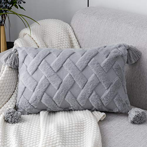 Foindtower Decorative Soft Faux Fur Lumbar Throw Pillow Cover with Tassels Furry Cute Embroidery Cushion Cover, Solid Tufted Geometric Pillow Case for Couch Sofa Bedroom Living Room 12x20 Inch Gray