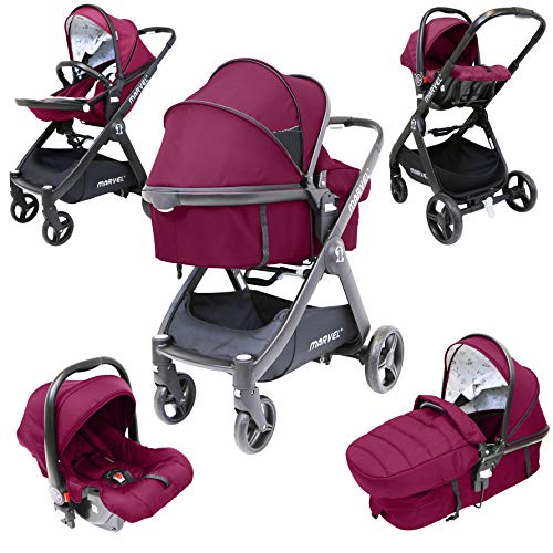 iSafe Marvel Marrone 3 in1 Pram Travel System and Pushchair All Terrain