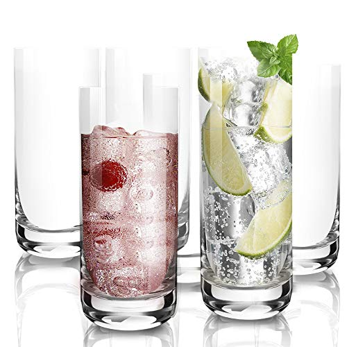 6Pack135 OzDESIGN•MASTER Premium Lead Free Highball Glasses Heavy Base Tall Bar Glass Drinking Glasses for Water Juice Beer and Cocktail