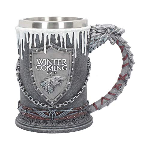 Nemesis Now House Stark Bierkrug, Game of Thrones, 20 cm, Schwarz