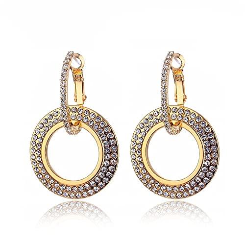 FEARRIN Pendientes Anillos de Moda Pendientes de Cristal Pendientes Circulares geométricos Femeninos Pendientes Simples Regalos de Fiesta E733-1