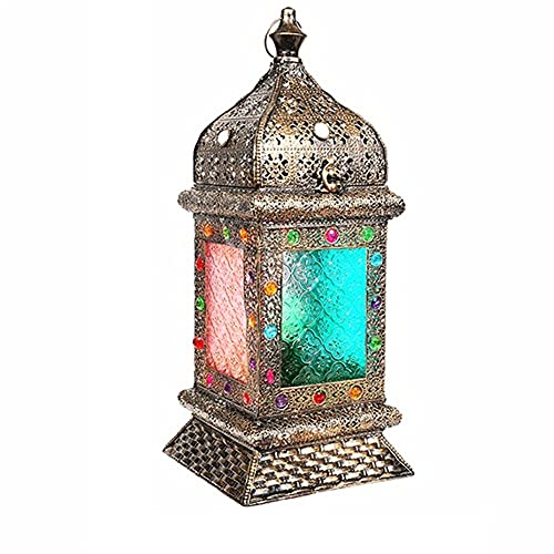 Zenghh India Artes lámpara de Mesa auténtico marroquí Pantalla Grandes del Estilo clásico de Turco de la Vendimia Cubierta Jardín múltiple de Cristal Linterna Que cuelga/Escritorio titulares de Las