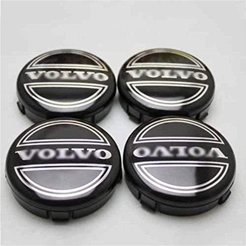 4 piezas Cubiertas de Cubo de Rueda para Volvo S40 S60L S80L XC60 XC90, Prueba De Polvo Tapas centrales para llantas con el Logotipo De Insignia Automóvil Accesorios,60MM
