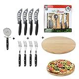 Totally Addict KDO8585 Coffret A Pizza X10, Bois/INOX, Noir, 30 x 30 x 1,6 cm