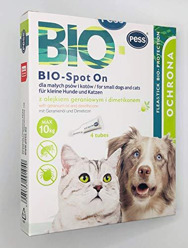 BIO-Spot On 4 Pipetten I Natürliches Mittel gegen Zecken und Flöhe I Zeckenschutz für Hunde und Katzen auf Biologischer Basis für kleine Hunde und Katzen