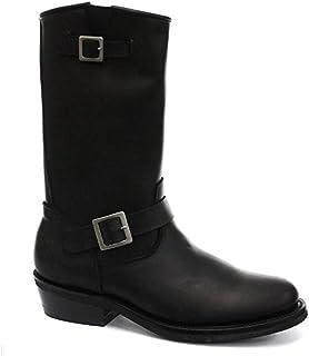 Grinders Bottes western hautes en cuir lisse pour homme et femme Noir