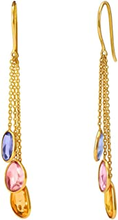 Gehna 18KT Yellow Gold and Sapphire Drop Earrings for Women