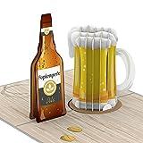 PaperCrush® Biglietto pop-up con birra – Biglietto di auguri speciale 3D per uomini (migliore amico, papà o 18° compleanno) – Biglietto di auguri fatto a mano con brocca di birra, Happy Beersday
