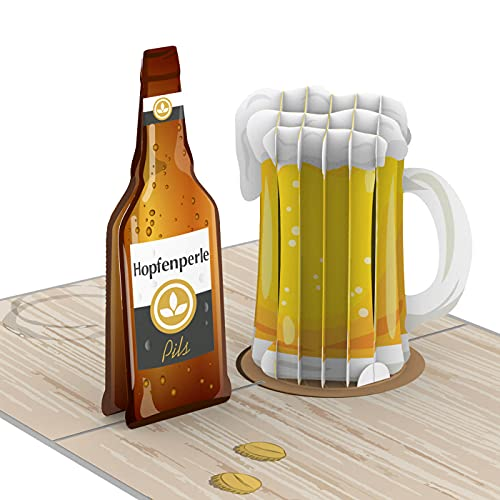 PaperCrush® Pop-Up Karte Bier - Besondere 3D Geburtstagskarte für Männer (Bester Freund, Papa oder 18. Geburtstag) - Handgemachte Glückwunschkarte mit Bierkrug, Happy Beersday Karte