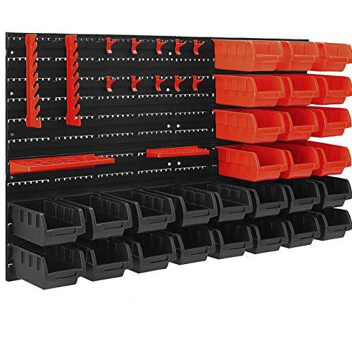 MASKO® Wandregal + Stapelboxen + Werkzeughalter | 45 tlg Box | Erweiterbar | Werkstattregal Lagerregal Steckregal Set Box | Sichtlagerkästen | Kleinteilemagazin | Sortimentskasten | Werkstatt |