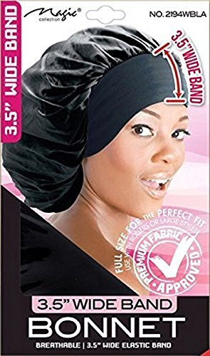 Magic Collection 3.5 Inch Wide Band Bonnet Elastic Band Black