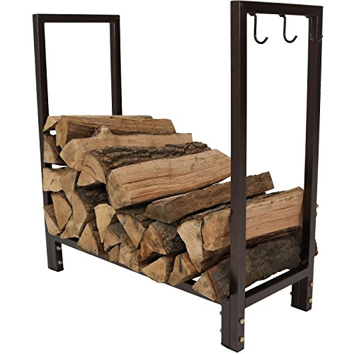 Sunnydaze Firewood Log Rack - Indoor or Outdoor Wood Storage Holder for Fireplace or Fire Pit - Steel Construction with Powder-Coated Bronze Finish - 30-Inch