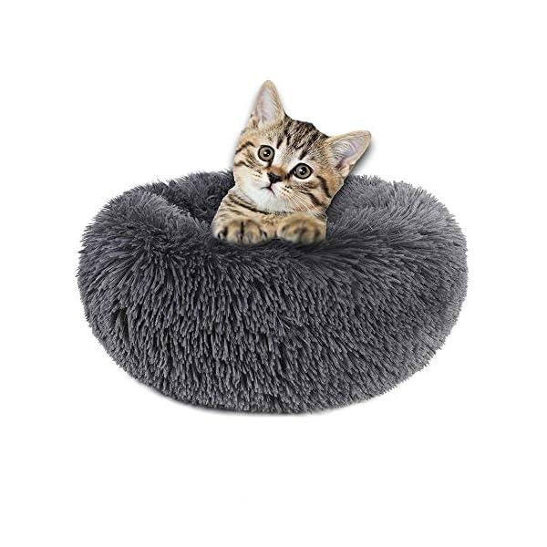 "otoez Round Plush Donut Pet Bed Fur Donut Cuddler Warm Soft Dog Cat Cushion Bed Calming Bed Non-Slip Bottom (15″/19″/23""/27″/31""/39"")"