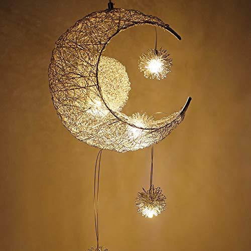 OurLeeme ámpara Colgante, Hermosa Luna y Estrella Luz de Hada Colgante araña luz de Techo Niños Sala de Estar Decoración del hogar