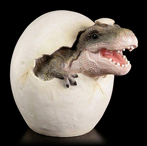 Dino Baby Gartenfigur - Tyrannosaurus Rex schlüpft aus Ei - Dinosaurier Figur Garten
