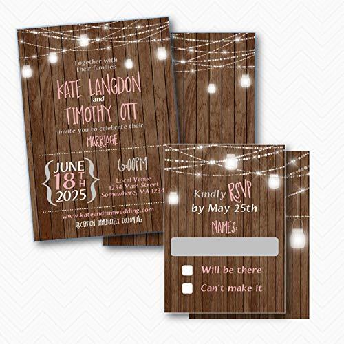 Mason Jar Rustic Wood & Lights Wedding Invitation set with RSVP | Envelopes Included