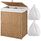 Greenstell Laundry Hamper with 2 Removable Liner Bags, Divided Clothes Hamper, 90L Handwoven Synthetic Rattan Laundry Basket with Lid and Handles, Foldable & Easy to Install Natural (18x12x24 Inches)