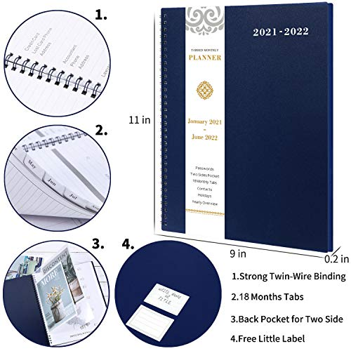 """Product Image 3: 2021-2022 Monthly Planner – 18-Month Planner with Tabs & Pocket & Label, Contacts and Passwords, 9"""" x 11″, Thick Paper, Jan. 2021 – Jun. 2022, Twin-Wire Binding – Navy Blue by Artfan"""