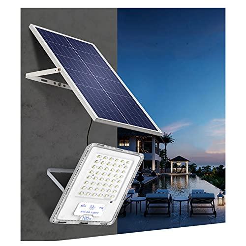YROD LIGHT Foco Solar Exterior 100W 200W 300W Impermeable ,96 Cuentas De Lámpara ,Luces Solares Jardin 110LM / W 6500K, Control De Luz Inteligente Farolas Solares Exterior...