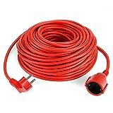 SIMBR Alargador Electrico 30m IP20 H05VV Cable Alargador Corriente IP20 H05VV Alargador Corriente para Exteriores Prolongador Electrico de Color Rojo