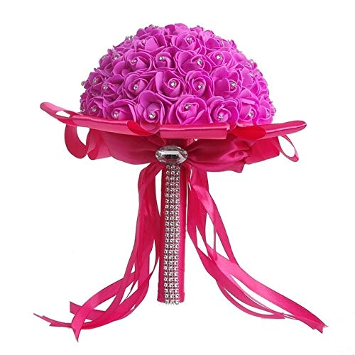 WHANG Braut-Holding-Blumenstrauß Kreative Simulation Holding-Blumenstrauß Wedding Supplies (blau). (Color : Rose Red)